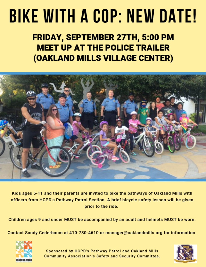 Bike with a Cop: New Date! @ OM Police Trailer