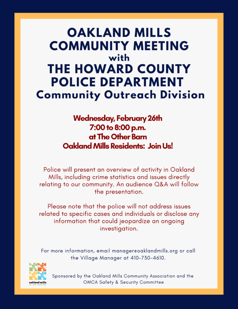 Oakland Mills Community Meeting with Howard County Police Dept., Community Outreach Division @ The Other Barn