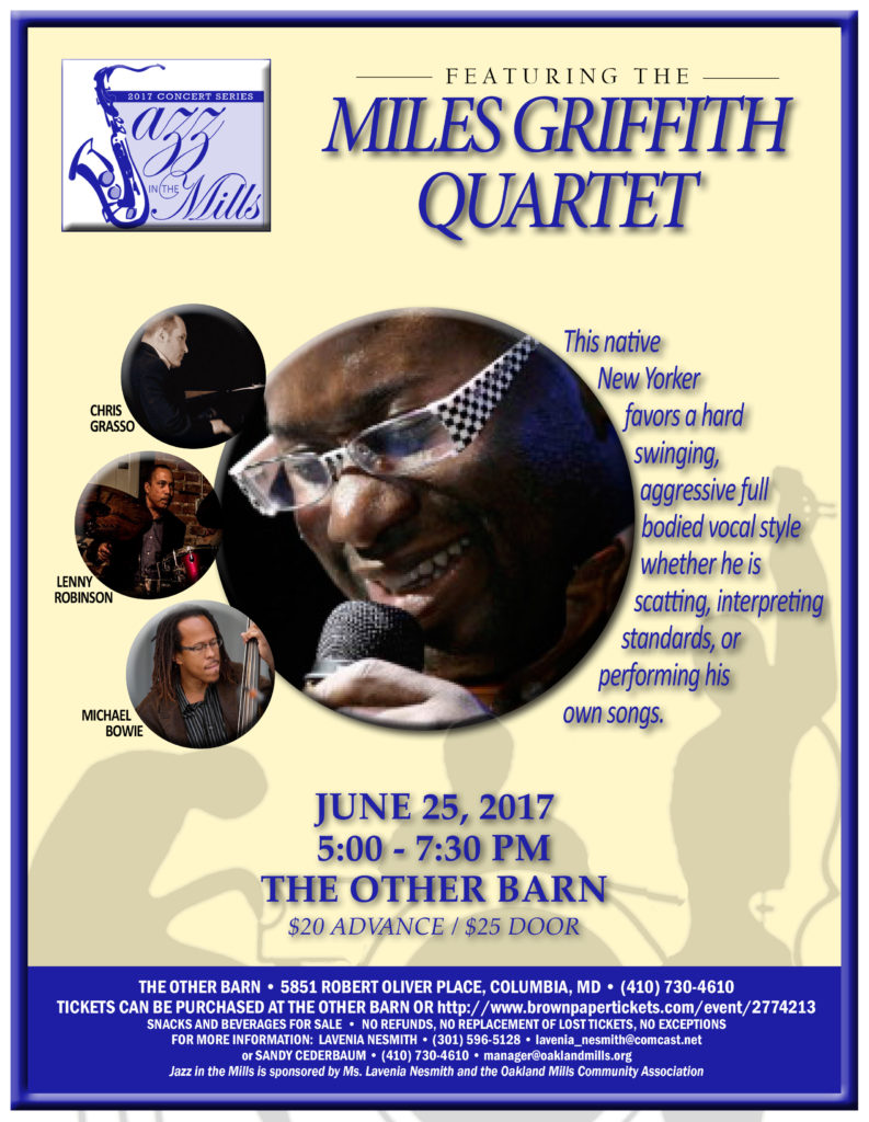 Jazz in the Mills 2017 Concert Series Presents the Miles Griffith Quartet @ The Other Barn | Columbia | Maryland | United States