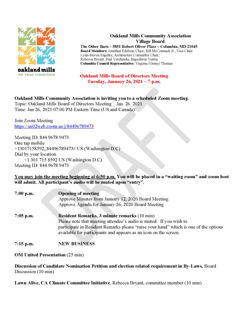 OMCA Board Meeting @ Virtual Meeting